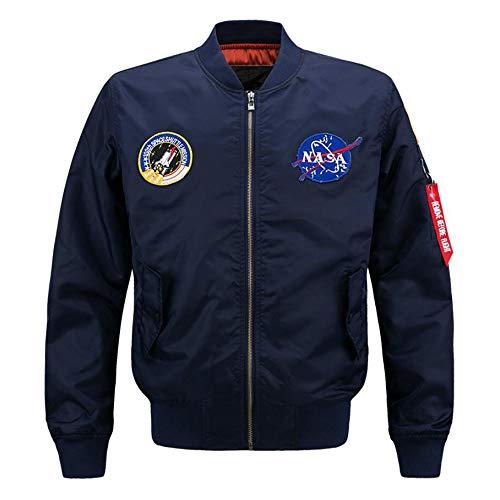 AYUSHOP Chaqueta de Bombardero de la NASA Hombres Sudadera, Sky Air Vuelo Chaqueta Ligera Hip Hop Rompevientos Outwear,Darkblue,M