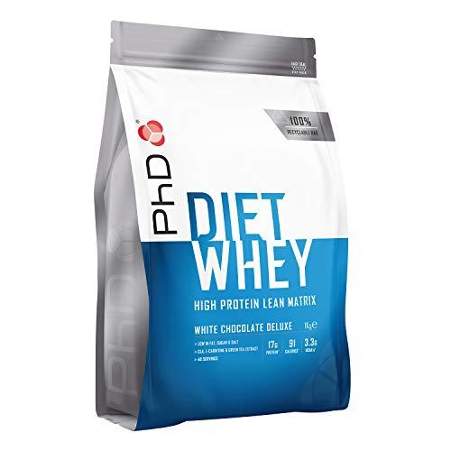 PhD Proteína de Suero Nutricional para Dieta en Polvo Bajo en Calorías, Sustituto de Comidas Rico en Proteínas Bajo en Azúcar con Fibra para Batidos de Adelgazamiento, Sabor Chocolate Blanco (1kg)