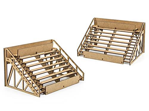 PROSCALE Maqueta decoracion accesorios Scalextric original - Grada decoracion circuitos coches slot car 1 32 kit modelismo maquetas madera para montar construir adultos niños (2 unidades)