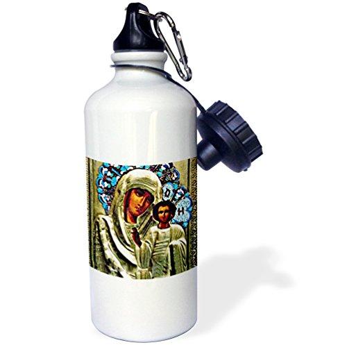 3dRose - Botella de agua unisex con icono ruso de la bendita María, 21 onzas (wb_525_1), color blanco