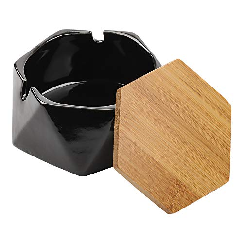 Posacenere in ceramica con coperchio per sigarette, posacenere per esterni, casa, ufficio, soggiorno (nero)