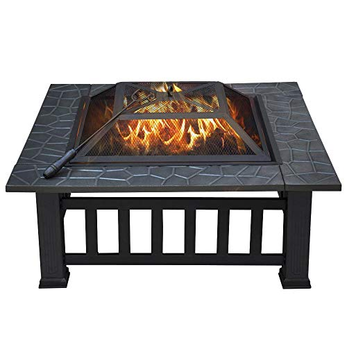 32-Inch Outdoor Metal Wood Burning Fire Pit For Backyard or Patio with Log Poker by Yaheetech