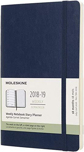 (modello precedente) - Moleskine 2018 - 2019 Agenda Settimanale 18 Mesi, con Spazio per Note, Large, Copertina Morbida, Blu Zaffiro - 132 x 210 mm