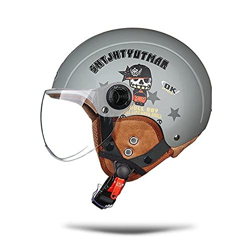 LIONCIANO Cascos De Motocicleta para Hombres y Mujeres, Cascos De Ciclomotor con Visera Reflectante, Que Protege La Seguridad Vial De Los Usuarios(Pirata Gris Mate, Lente Transparente)