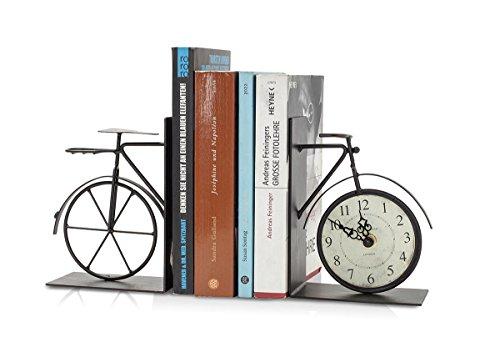levandeo Buchstütze Fahrrad mit integrierter Uhr aus Eisen in antikbraun - Buchhalter Stütze für Bücher Bücherstütze Nostalgie Shabby Chic Landhaus