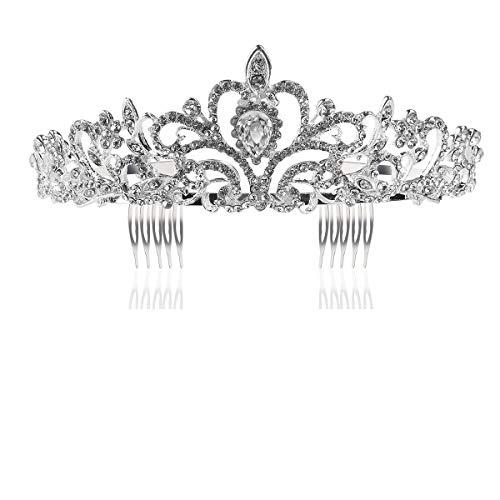 Tinksky Hochzeit Tiara mit Kamm leuchtenden Kristall Strass Braut Tiaras Stirnband (Silber)