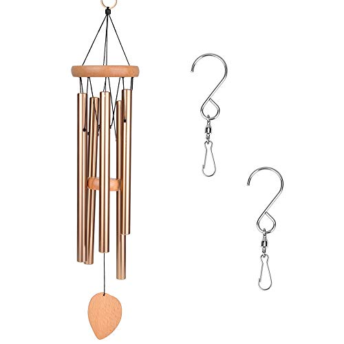 DEWEL Wind Chimes Outdoor,Amazing Grace Wind Chime with 5 Aluminum Alloy Tubes 25'' Large Wind Chimes with Free 2 Pack Hooks,Home Indoor Decoration for Patio Lawn Garden Balcony Porch Backyard