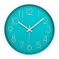 Filly Wink Modern Wall Clock Silent Non-Ticking Sweep Movement Battery Operated Easy to Read Home/Office/School Clock 12 Inch Teal