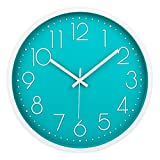 Filly Wink Modern Wall Clock Silent Non-Ticking Sweep Movement Battery Operated Easy to Read Home/Office/School Decorative Clocks 12 Inch Teal