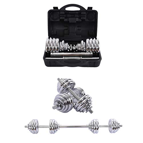 XINQITE 66lbs Adjustable Dumbbell Set with Carry Case, A Pairs Free Weight Barbell with Steel Connector for Bodybuilding Training Workouts Home Gym Equipment