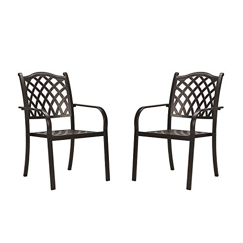 CW Chair Stackable Outdoor Patio Dining Chairs Rust-Free Cast Aluminum Frame with Arms, Lattice Weave Design Metal Furniture Set for Lawn Garden Backyard, Set of 2, Dark Brown