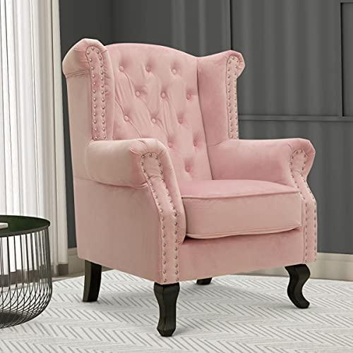 Velvet Wing Back Fireside Henley Chair/Armchair with Buttons Light Pink