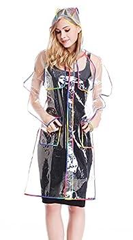Bienvenu Transparent Raincoat for Women Rain Ponchos for Adult Waterproof rain jackets,One Size