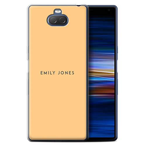 eSwish persoonlijk telefoonhoesje voor Sony Xperia 10 Plus 2019 gedrukt op maat pastel stempel oranje ontwerp initiële naam DIY transparante zachte Flexi gel/TPU cover