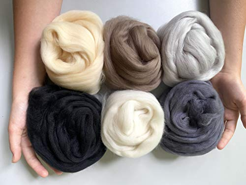 Wool Roving, Extra Fine Soft Top Merino Wool 6-Pack Kit in Neutral Colors (150g-5.30 oz) with Storage Container for Needle Felting, Spinning Yarn, Weaving Fiber Filling Stuffing