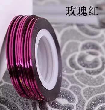 Coollooda Striping Nail Art Ligne de ruban Rouleaux de décoration multicolore en option Rose Red 10pcs