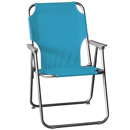 Wohaga® Campingstuhl, klappbarer Gartenstuhl Klappstuhl Faltstuhl Strandstuhl Anglerstuhl, Farbe:Hellblau
