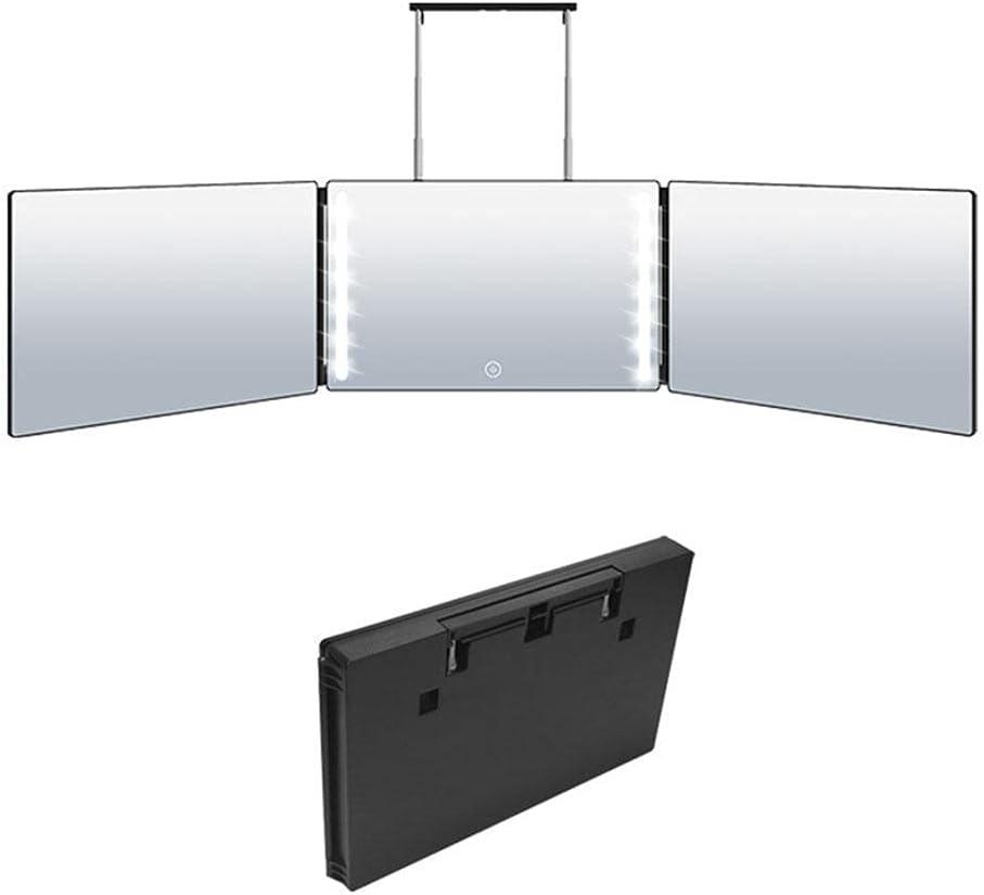 Hosuho Einstellbare Trifold-Spiegel mit Beleuchtung,360-Grad-Spiegel ,3-Wege-Spiegel für Self-Haar-Schneiden & Styling und Färbung,Haarschneider