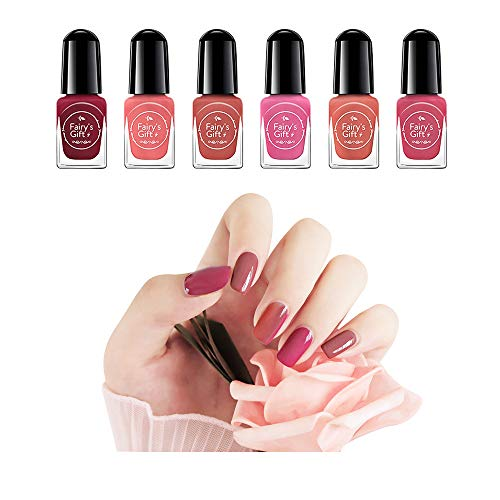 Clest F&H New Nail Polish Set (6 Bottles)-Non-Toxic Eco-Friendly Easy Peel Off & Quick Dry Water Based Nail Polish-F6