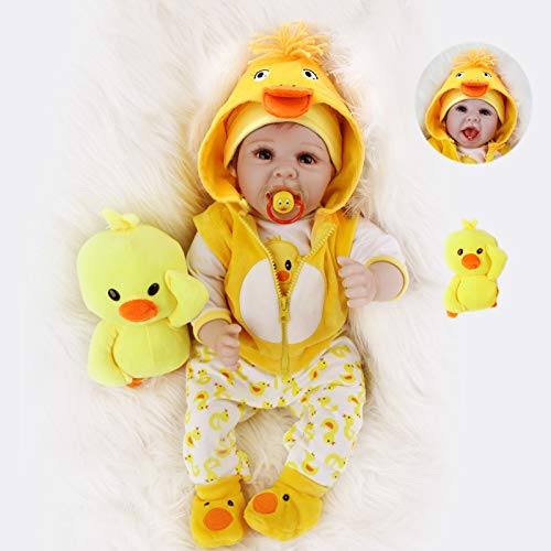 ZIYIUI 22 Zoll 55 cm Realistisch öffnen Augen Reborn Baby-Puppen-Neugeborene mit gelber Kleidung Neugeborenen Spielzeug