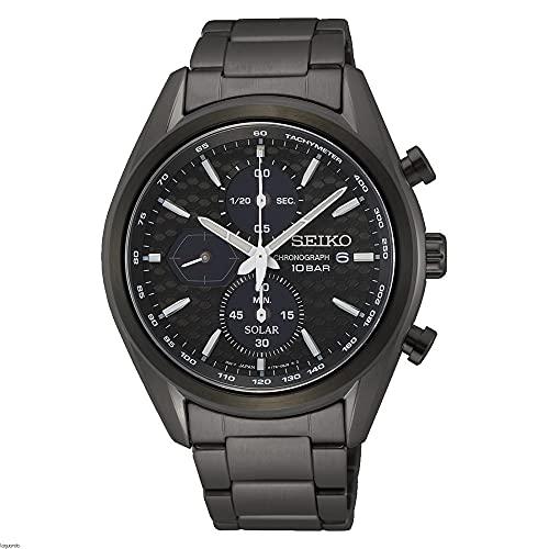 SEIKO Reloj para Hombre Analógico Cuarzo japonés con Correa de Acero Inoxidable Macchina Sportiva Crono Solar IP Negro