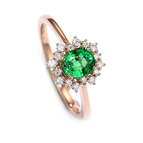 AYDOME Ring Engagement Women, 18K Rose Gold Jewelry 0.8ct Tsavorite Flower Oval Cut Birthday Party Girls M 1/2