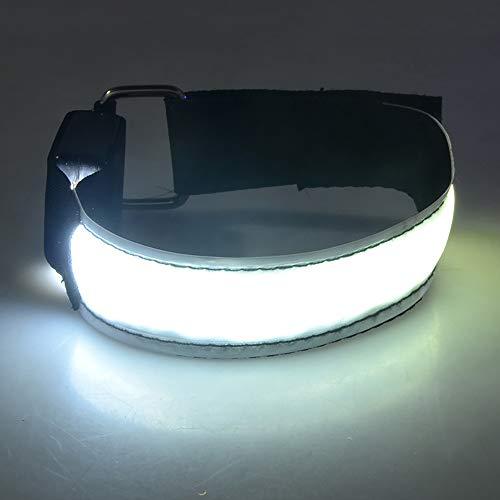 KAILUN LED Brazalete De Flash Pulsera Luminosa En El Pie Carga USB Carrera Nocturna Fluorescente Luz De Advertencia De Seguridad Siete Colores,White