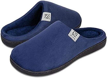 Zapatillas Hombre Mujer Invierno CáLido Zapatos Memory Foam Casa Antideslizante Pantuflas (Azul Oscuro, 42/43 EU)