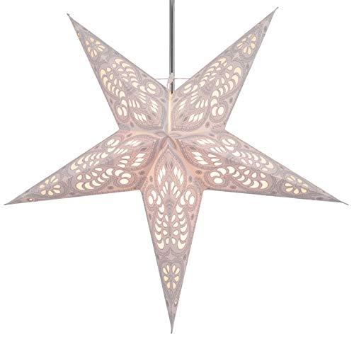 GURU SHOP Faltbarer Advents Leucht Papierstern, Weihnachtsstern 60 cm - Menor Nature, Star Fensterdeko