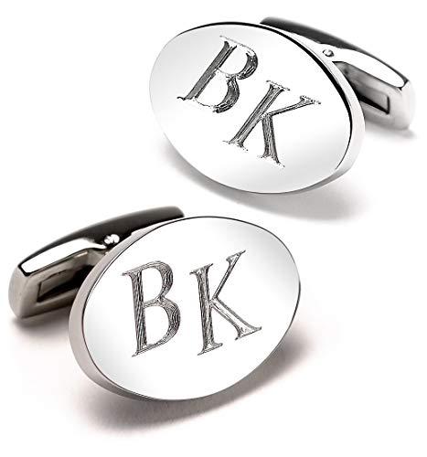 Diamandi Manschettenknöpfe mit Gravur - OVAL - Silber glänzend - Initialen gravieren Lassen - Schmuck für Herren aus Berlin