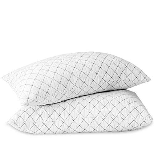 Allo Memory Foam Pillow Standard Size, Bed Pillows for Sleeping with Adjustable Loft Design, Cooling Bamboo Pillow with Washable Breathable Zip Cover Hypoallergenic Cross-Cut Memory Foam Fill - 2 Pack