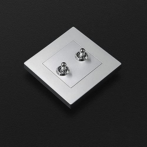 SYunxiang Interruptor de luz de Pared con Palanca Tipo 86 Luz Oculta Panel de PC de Lujo Palanca de latón Retro Hotel Casa de huéspedes Interruptor de Pared de Panel de CA Gris Plateado