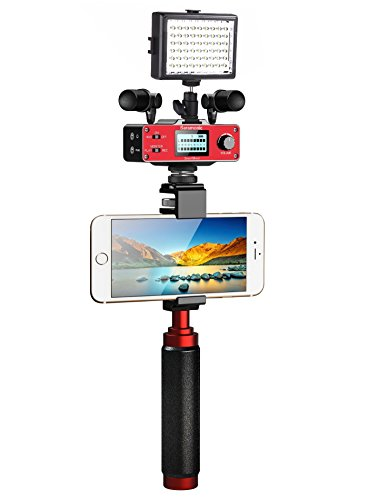 Saramonic Ultimate Smartphone Video Kit with Dual Stereo Microphones, Audio Mixer, LED Light and Stabilizing Rig for Apple iPhone 5, 5S, 6, 6S, 7, 8, X, XS, XS Max, Samsung Galaxy S5, S6, S7, S8, S9