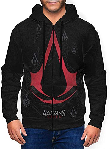 Assassin's Creed Adults Hoodies with Hat Full-Zip 3D Sweatshirt Pocket Hoodies Teenagers Jacket