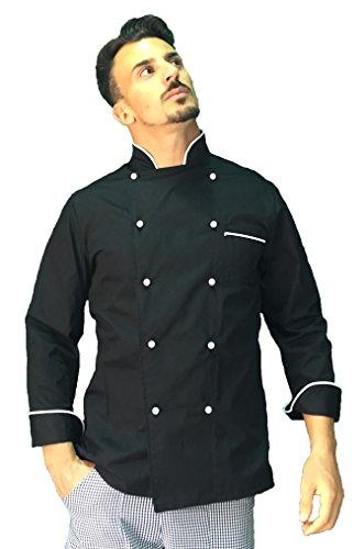 tessile astorino Giacca Cuoco Uomo, Casacca Chef, Nera e Bianca, Nome Ricamato, Ricamo Gratuito, Personalizzabile, Made in Italy, (M)