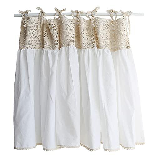 YXW Cortinas Shabby Chic, Cortina Corta de Cocina de Encaje Beige con Costuras Blancas, Medias Cortinas rústicas de café para baño, 1 Pieza (120 × 63 cm / 120 × 123 cm)