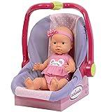 #11 Große Puppe 36 cm mit Puppentrage und Kleidung pink Babypuppe Vinylpuppe bewegliche Puppe Spielpuppe Anziehpuppe Vinyl Puppen Autositz Zubehör Set Spielzeug Puppe ohne Haare rosa