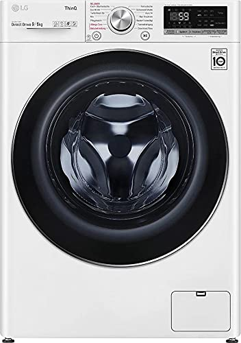 LG V5WD961 Waschtrockner - 9 kg Waschen / 6 kg Trocknen - Inverter Motor, Dampf-Funktion, Weiß, 1400 U/Min