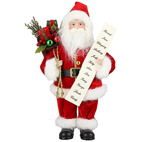 AGM 12 inches Santa Claus, Christmas Figurine Figure Decor with Good and Bad List and Gifts Bag for Holiday Party Home Decoration