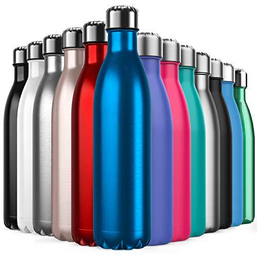 BICASLOVE Botella de Agua de Acero Inoxidable,Diseño de Pared Doble,Boca EstáNdar,para Correr,Gimnasio,Yoga,Ciclismo,750ML,Azul