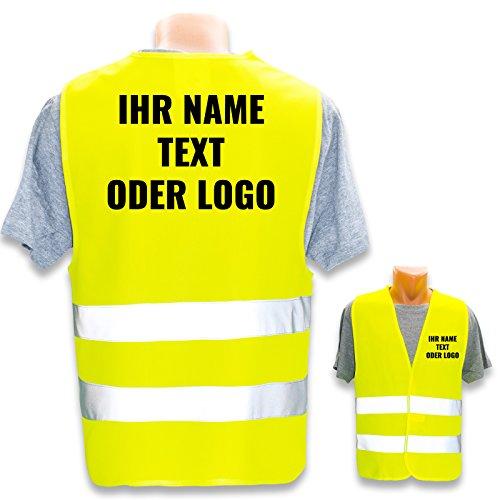 PixiPrints.com Hochwertige Warnweste mit Leuchtstreifen * Bedruckt mit Name Text Bild Logo Firma * personalisiertes Design selbst gestalten, Farbe Warnweste:Gelb (XS), Druckposition:Rücken + Linke Brust