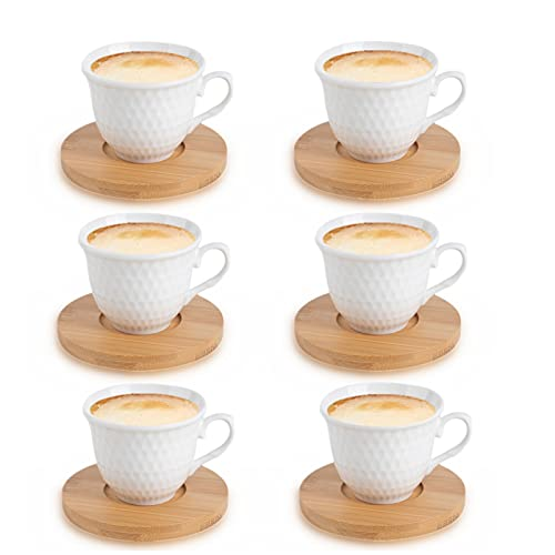 JUJOYBD Set di 12 tazzine da caffè TLG con piattino – Servizio da caffè 6 tazze/6 piattini – tazze da caffè per 6 persone, 80 ml