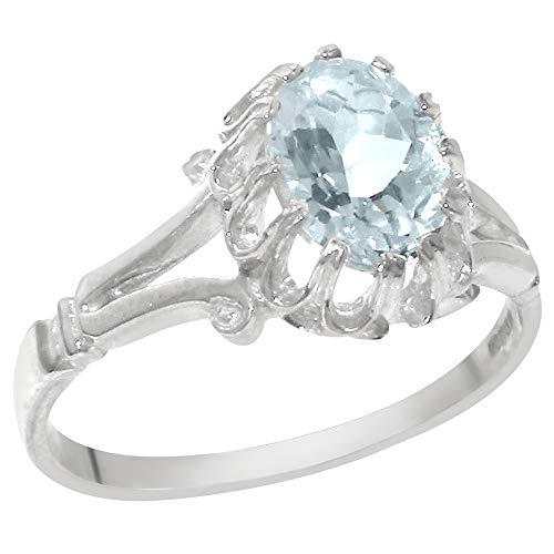 Luxus Damen Ring Solide 18 Karat (750) Weißgold mit Aquamarin - Größe 52 (16.6) - Verfügbare Größen : 47 bis 68