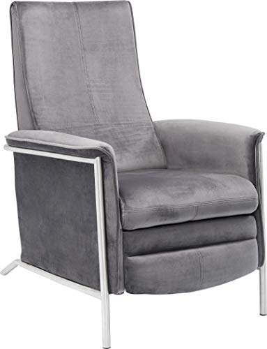 Kare Design Fauteuil Relax Lazy Velours Gris