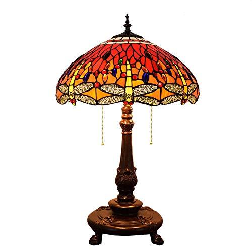 Blivuself Tiffany lámpara de mesa Estilo Tiffany manchado del estilo de cristal rojo de la libélula Villa bar salón comedor tabla de la oficina de la lámpara lámpara de cabecera de 18 pulgadas