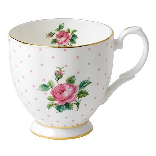 Royal Albert - Tazza da tè, 0,3 Litri, in Porcellana Fine Bone China, con Base, Motivo Vintage a Rose, Colore: Bianco