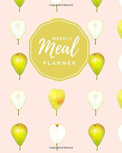 Weekly Meal Planner: Modern Pear Pattern on Pale Pink Cover...