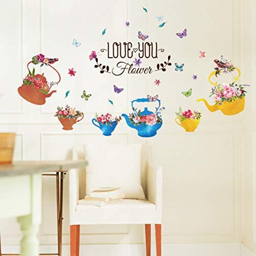 Zhangsanlisi Caldera Flores Pájaro En Maceta Mariposa Pegatinas De Pared Decoración Sala De Estar Puertas De Vidrio Ventanas Cocina Etiqueta Extraíble