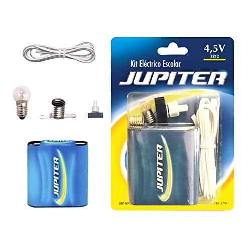 Jupiter (324620) - Kit Eléctrico Escolar, Set para el Colegio, Pila Petaca 4.5V, Interruptor 220V, Cable y Bombilla.