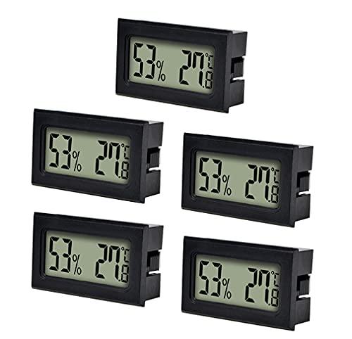 otutun Mini Termómetro Higrómetro Digital Interior de Temperatura y Humedad , Juego de 5 LCD Termómetro Higrómetro LCD Digital portátil Medidor para oficina en casa Celsius °C